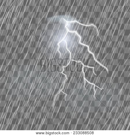 Lightning Flash And Raindrops On The Transparent Effect Background. Thunderstorm And Heavy Rain. Rea