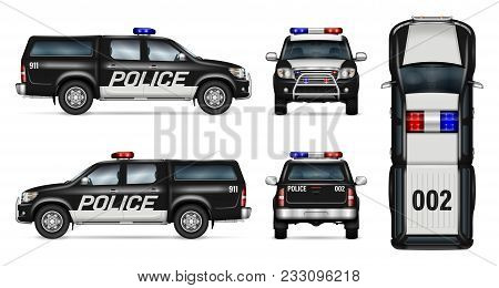 Police Car Vector Mock-up. Isolated Template Of Black Pickup Truck On White Background. Side, Front,