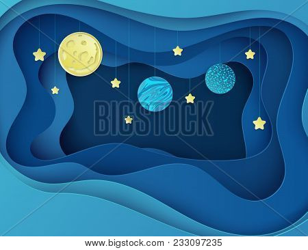 Night Sky With Moon, Stars And Planets. Paper Art 3d Abstract Background With Origami Shapes. Paper