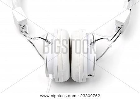 White Headphones Close-up.