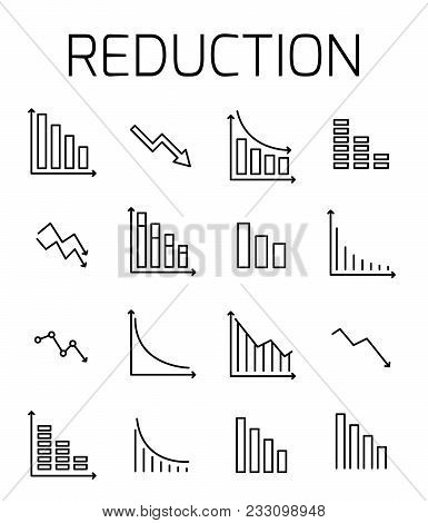 Reduction Related Vector Icon Set. Well-crafted Sign In Thin Line Style With Editable Stroke. Vector