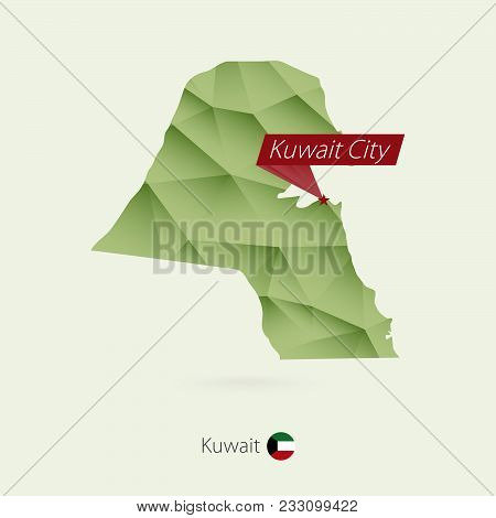Green Gradient Low Poly Map Of Kuwait With Capital Kuwait City