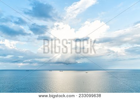 Seascape on cloudy sky background. Sea water and sky horizon line. Wanderlust, travel, trip. Summer vacation concept. Adventure, discovery, journey. poster