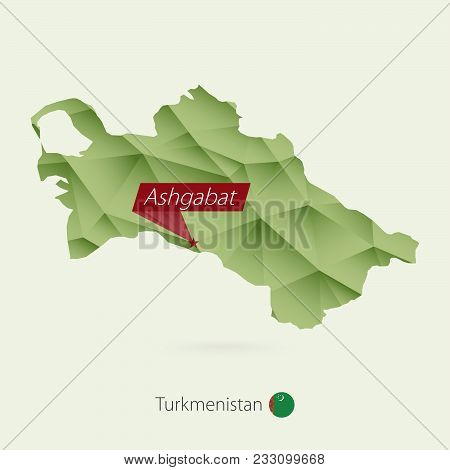 Green Gradient Low Poly Map Of Turkmenistan With Capital Ashgabat