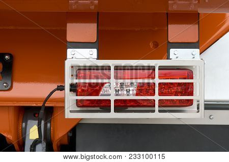 Rear Position Lamps With Metal Protective Cover On The Rear Of The Truck
