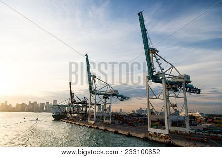Miami, Usa - March, 18, 2016: Trade, Commerce, Business. Maritime Container Port With Cargo Ship, Cr