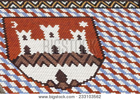 Zagreb, Croatia. August 17, 2015: Colored Tiles With Emblem Of Zagreb. St Marks Church In Zagreb In