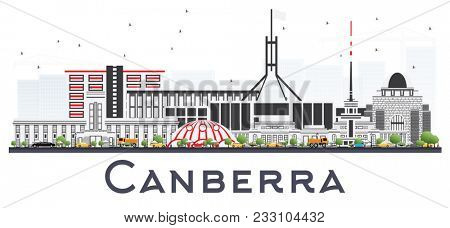 Canberra Australia City Skyline with Gray Buildings Isolated on White. Business Travel and Tourism Concept with Modern Architecture. Canberra Cityscape with Landmarks.