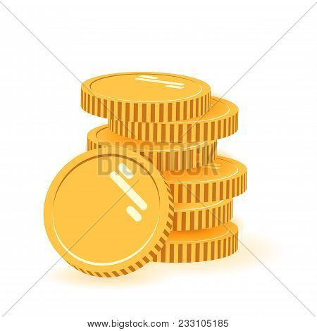 Stack Of Coins With Coin In Front Of It. Icon Flat, Coins Pile, Coins Money, One Golden Coin Standin