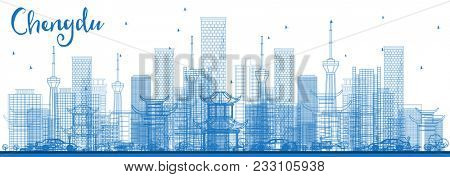 Outline Chengdu China City Skyline with Blue Buildings. Business Travel and Tourism Concept with Modern Architecture. Chengdu Cityscape with Landmarks.