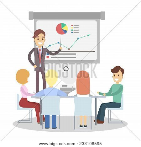 Business Presentation On Board. Busines Man Showing Data.