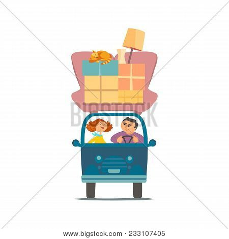 Move To New House Icon. Young Couple Deliver Moving Boxes By Vehicle. Package Cardboard Box For Relo