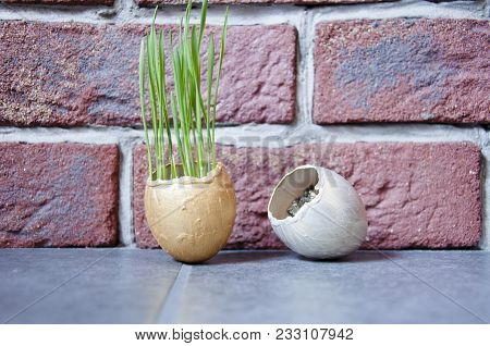 Antique, Golden Decoration, Gold Egg, Fragile Power. Golden Egg With Fresh Green Grass In Hand, Meta
