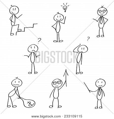 Set Of Cute Stick Figures For The Business Presentation. Vector, Hand Drawn.