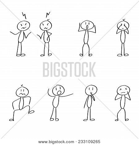 Set Of Crazy, Mad, Arguing, Stick Figures For The Business Presentation. Vector, Hand Drawn.