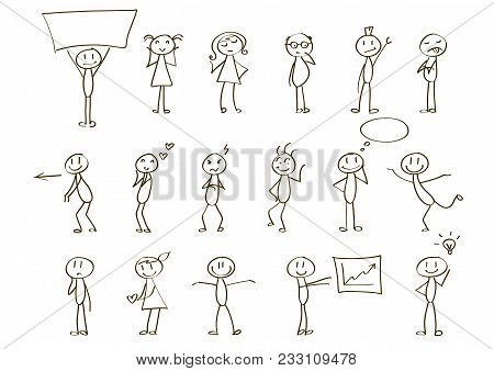Set Of Stick Figures For Presentations. Vector, Hand Drawn. Expressing Different Emotions.