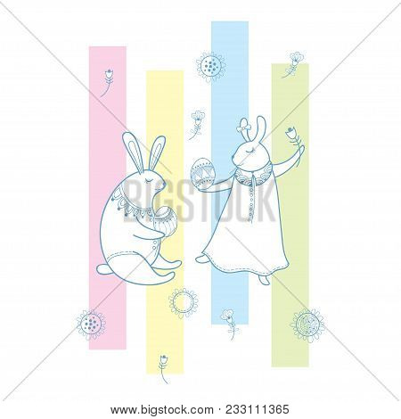 Vector happy easter vector photo free trial bigstock vector happy easter greeting with outline rabbit couple traditional easter symbol and stripes in pa m4hsunfo