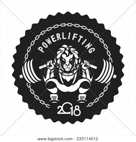 Vector Black And White Illustration Of A Powerlifting Squat With The Bar Character Leo In Sports Out