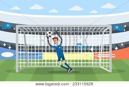 Goalkeeper On Gates. Playing In Soccer On The Stadium.
