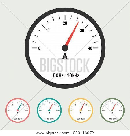 Ammeter Vector Illustration With Different Color Options