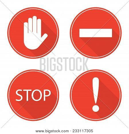 Red Stop Signs. Hand, Rectangle, Word Stop And Exclamation Mark. Stop Symbols In Circles, Warning, D