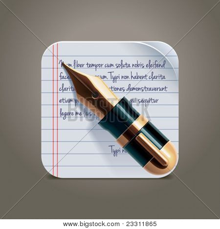 Vector fountain pen on notepad square XXL icon