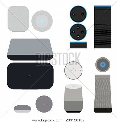 Set Of Smart Speakers With Voice Control Interface. User Interface Smart Speaker Vector Illustration