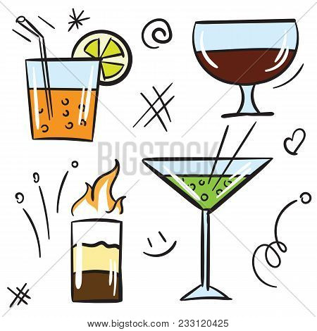 Cocktail Color Icon Set Isolated On White Background. Vector Icon Color Alcohol Cocktail And Beverag