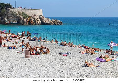 Nice, France - June 22, 2016: Castle Beach On Mediterranean Sea In The Center Of Nice