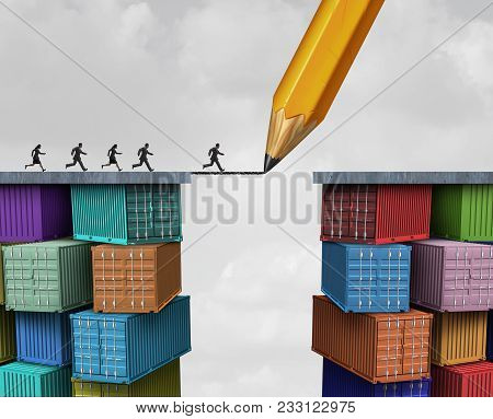 Global Trade And Economic Bridge Business Shipping Concept As A Pencil Drawing On Freight Containers