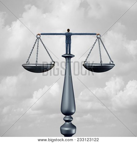 Law Services Symbol And Lawyer Concept Or Attorney Symbol Or A Judge As A Person Holding A Justice S