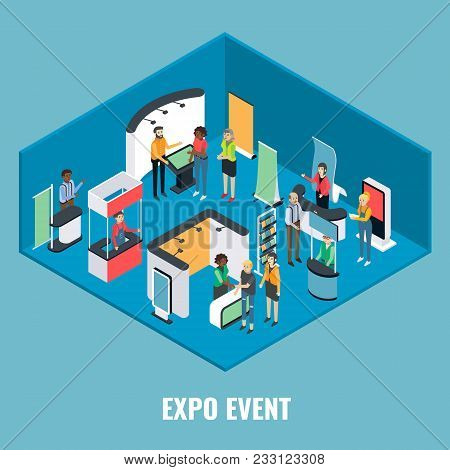 Expo Event Concept Vector Flat 3d Illustration. Isometric Exhibition Equipment, Young Man And Woman