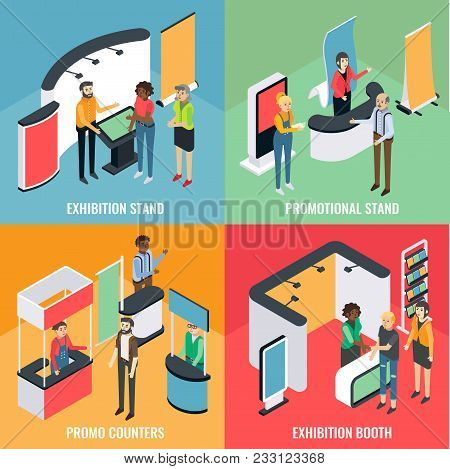 Promotion Equipment Vector Flat Isometric Poster, Banner Set. Exhibition Stand, Promotional Stand, P