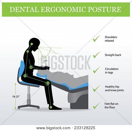 Proper Ergonomic Positioning For Dentists. Ergonomics In Dentistry. Correct Posture Of Work. Healthy