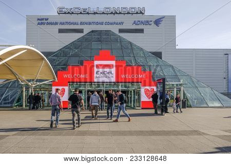 London, Uk - February 16, 2018:  Towards The Entrance Of Excel Exhibition Centre At Royal Docks, Lon