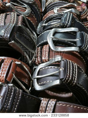 Fashion Belts Of Leather For Sale In The Italian Store In Florence