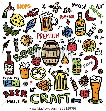 Craft Beer Hand Drawn Elements Set. Outline Colorful Icons Of Craft Beer Things. Craft Beer Info Gra