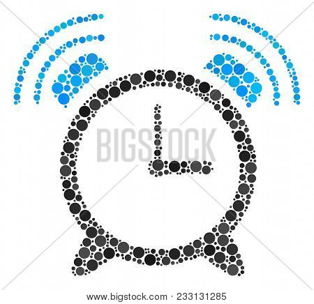 Buzzer Collage Of Circle Dots In Various Sizes And Color Shades. Filled Circles Are Combined Into Bu