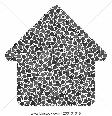 Cabin Collage Of Round Dots In Various Sizes And Color Tones. Round Dots Are Combined Into Cabin Vec
