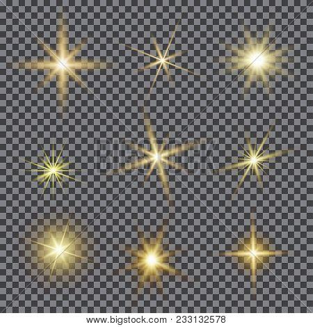 Vector Set Of Glare Lighting, Twinkle Lens Flares. Transparent Gradient Stars, Lightning Flare. Magi