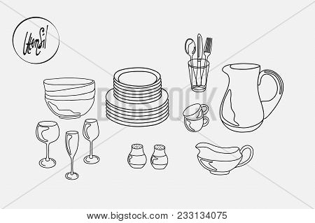 Kitchen Utensils Plates Cups Saucers Pitcher Mug And Fork And Spoon And Knife. Black And White Conto