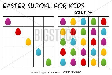 Sudoku For Kids With Solution, Puzzle For Children To Complete Each Row Or Column With Just One Of E