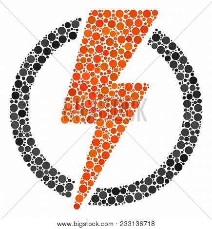 Electricity Mosaic Of Dots In Various Sizes And Color Hues. Filled Circles Are Composed Into Electri