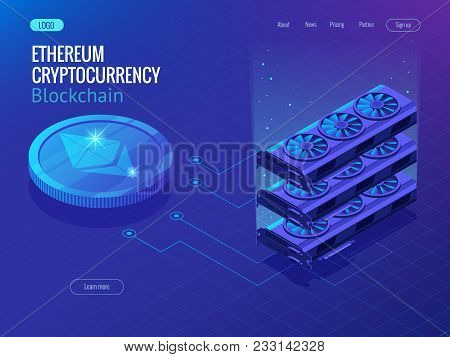 Isometric Secure Global Financial Network Blockchain Crypto Currencies Ethereum. Ethereum Network. V