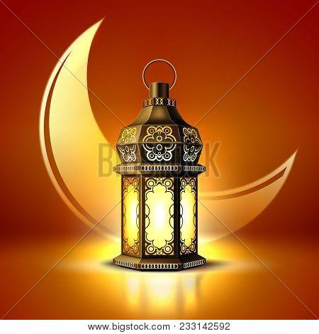 Vector Ramadan Kareem Poster, Celebration Lamp Lantern Realistic 3d Illustration. Arabic Islam Cultu