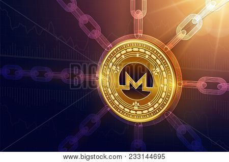 Monero. Crypto Currency. Block Chain. 3d Isometric Physical Monero Coin With Wireframe Chain. Blockc