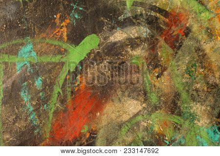 Multicolored Abstract Textured Background.   Grungy Aged Plastered Wall. Green, Red, Ocher, Orange A