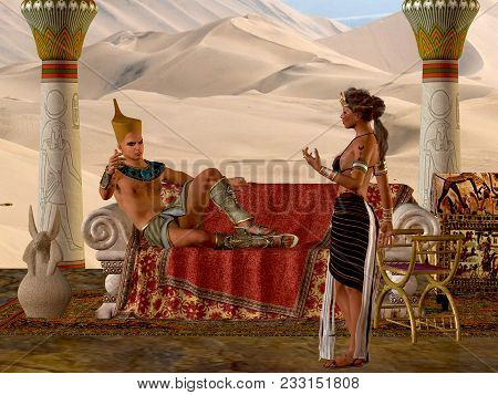 Egyptian Couple With Bench 3d Illustration - The Egyptian Pharaoh And His Wife Have A Discussion Abo