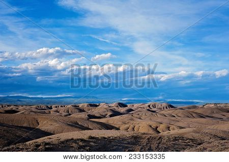 Landscape Of The Adobe Badlands Located In Colorado. Known Locally As The
