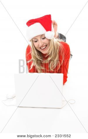 Christmas Girl Shopping Browsing Internet